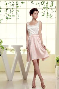 2013 White and Baby Pink Scoop Mini-length A-line Bridesmaid Dress
