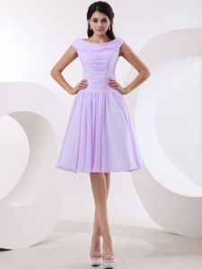 A-line Bateau Knee-length Formal Bridesmaid Dresses with Ruches