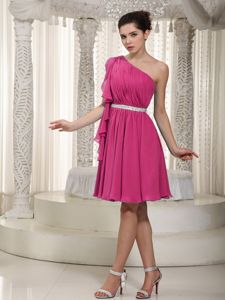 Rose Pink Empire One Shoulder Beaded Ruched Bridesmaid Dress