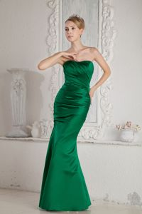 2013 Elegant Strapless Green Mermaid Ruched Dress for Bridesmaid