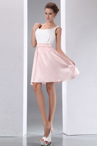 Scoop A-line Mini-length Taffeta White and Pink Bridesmaid Dress