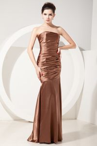 Cheap Strapless Chocolate Mermaid Bridesmaid Dress with Ruches