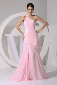 Ruffles and Bow Baby Pink One Shoulder Column Bridesmaid Dress