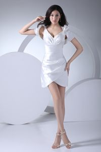 V-neck Asymmetrical Mini-length White Bridesmaid Dress Bowknot