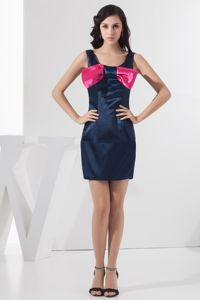 Navy Blue Scoop Column Mini-length Bridesmaid Dress Bowknot