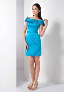 Off The Shoulder Teal Mini-length Satin Bridesmaid Dress