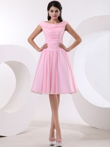 Bateau Scoop Ruched Formal Bridesmaid Dresses in Baby Pink