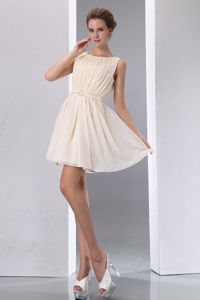 Champagne Scoop Mini-length Chiffon Ruched Bridesmaid Gown