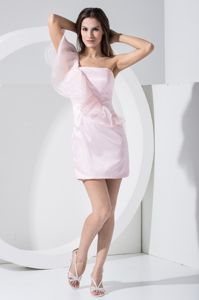 Pink One Shoudler Ruffles Mini-length Dress for Bridesmaid