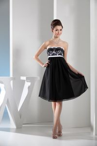 Short Black and White Chiffon Lace Dress for Bridesmaid