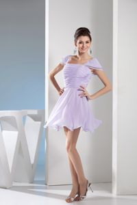 Ruched Square Lilac Mini Bridesmaid Gowns with Cap Sleeves