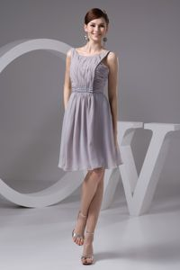 Scoop Chiffon Grey Bridesmaid Dresses with Ruching Beaded