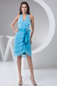 Halter Layered Aqua Blue Dress for Bridesmaid with Bowknot