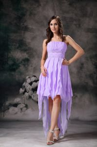 Short High Low Lavender Prom Dress With Ruffles and Ruche