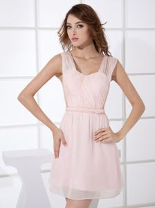 Mini-length Light Pink Empire Bridesmaid Dress with Straps