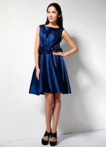 Royal Blue Hand Made Flower Scoop Short Bridesmaid Dress