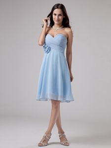 Ruching Sweetheart Light Blue Bridesmaid Gown with Hand Made Flower
