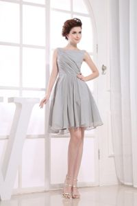 Bateau Grey Ruched knee-length Informal Bridesmaid Dresses