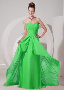 Spring Green Empire Sweetheart Bridesmaid Gowns Brush Train