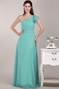 Turquoise One Shoulder Ruched Long Dress for Bridesmaid