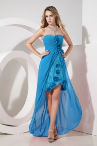 Sweetheart High-low Lace and Embroidery Bridesmaid Gowns in Turquoise
