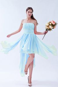 Empire Strapless Asymmetrical Bridesmaid Dress in Baby Blue Beaded