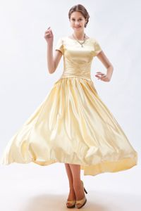 Short Sleeves Ruching Floor-length Formal Bridesmaid Dresses in Yellow