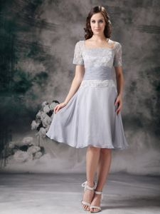 A-line Sleeves Grey Knee-length Lace Formal Bridesmaid Dresses