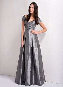 Grey A-line V-neck Ruched Bridemaid Dress for Church Wedding