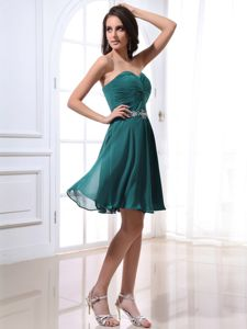 Sweetheart Teal Beading Short Informal Bridesmaid Dresses