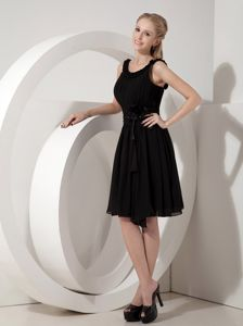 Scoop Ruffled and Pleated Black Dress for Bridesmaid Knee-length