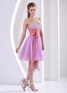 Beading Sweetheart Lavender Knee-length Bridesmaid Dress