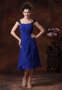 Lace Ruched Straps Chiffon Navy Blue Tea-length Bridesmaid Dress