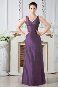 Lace Up V-neck Ruched Floor-length Taffeta Purple Bridesmaid Dress