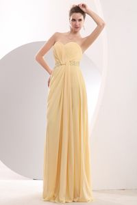 Sweetheart Ruched Beading Long Bridesmaid Dress with Brush Train