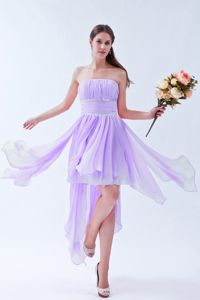 Asymmetrical Hem Strapless Beaded Ruched Lilac Bridesmaid Gown