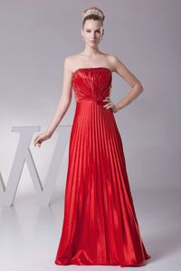 Pleated Strapless Ruched Red Lace Up Back Bridesmaid Dresses