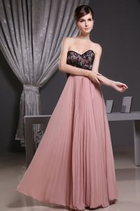 Black Lace Sweetheart Pleated Chiffon Full Length Bridesmaid Gown
