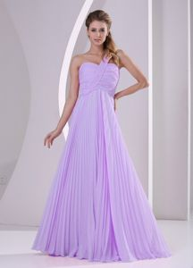 One Shoulder Ruche Chiffon Pleated Brush Train Bridesmaid Gown