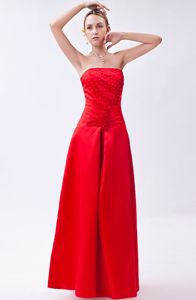 Beading Strapless Taffeta Red Long Lace Up Dress for Bridesmaid